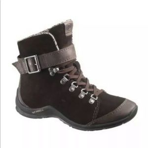 Womens MERRELL Brown Suede Strapped PALVINA